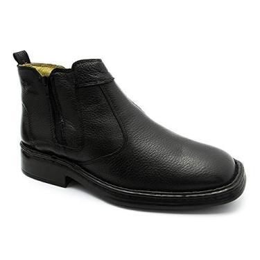 Botina Masculina 1001 em Couro Floater Preto Doctor Shoes-Preto-44
