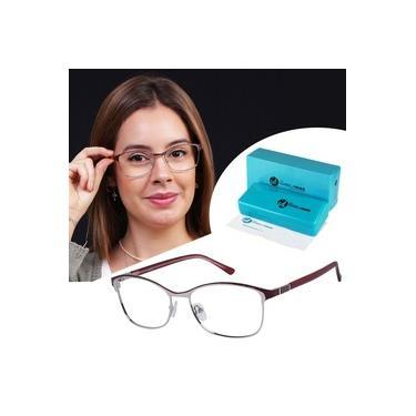Imagem de Óculos Feminino Armação Sem Grau Isabela Dias Gatinho Metal Vinho 6513