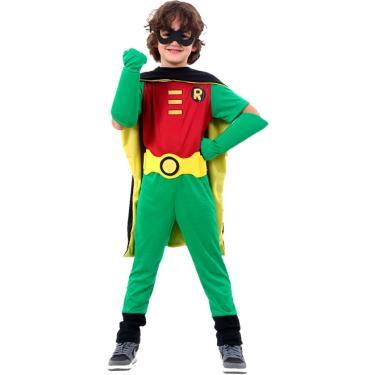 Imagem de Fantasia Robin Infantil Premium Com Luvas Teen Titans