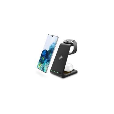Carregador sem fio Intoval, Estação de carregamento sem fio para Samsung Galaxy Phone/Watch/Buds, Fit para Note 20/Note 10/S20/S10, Relógio 3/Active 2,1/Gear S3/Sport/Fit, Galaxy Buds + /Live(S3, Black)