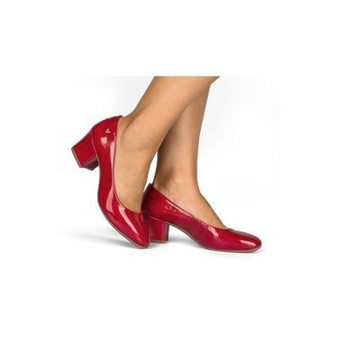 Sapato Feminino Mississipi Dakota Salto Vermelho Q0111