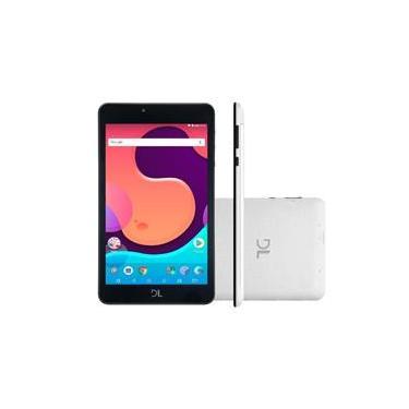 """Imagem de Kit Tablet DL Creative Tab 7"""" QuadCore Wi-Fi 1GB/8GB Branco Com Fone de ouvido P2 Onbongo F90 Preto"""