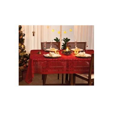 Imagem de Toalha de Mesa Lepper Retangular Natal 155x250cm Vermelha