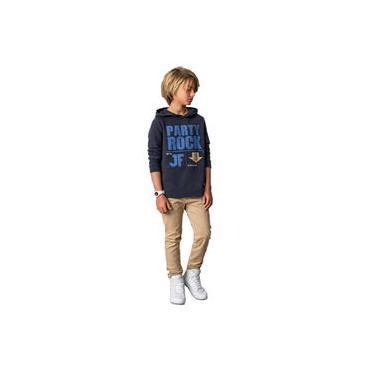 Conjunto Infantil Blusão Azul Marinho E Calça Sarja Caramelo Johnny Fox