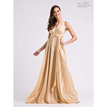 Imagem de Vestido longo de chiffon Dourado - Ref. 2580