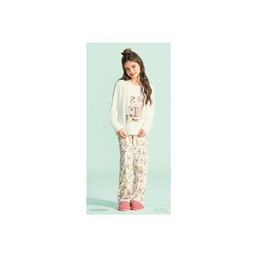 Pijama infantil menina feminino longo inverno 100% algodão ursinhos