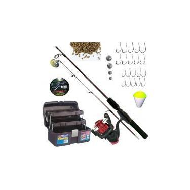 Kit Pesca Completo Vara 1,20m 6kg Molinete Maleta Barato - Xingu maruri marine