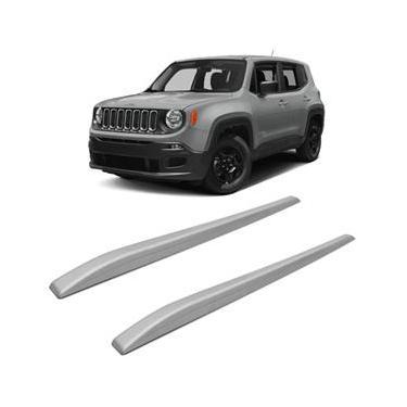 Rack Teto Longarina Slim Decorativo Jeep Renegade 16 a 20 Prata 2 Peças Fácil Aplicação Dupla Face