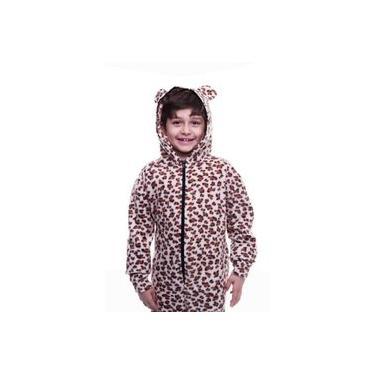 Pijama Macacão Onça Marrom Infantil