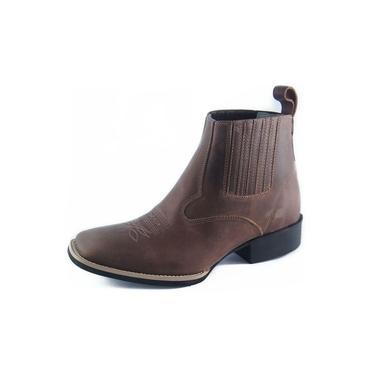 Botina Masculina Mr. West Boots Couro Tabaco Bico Quadrado