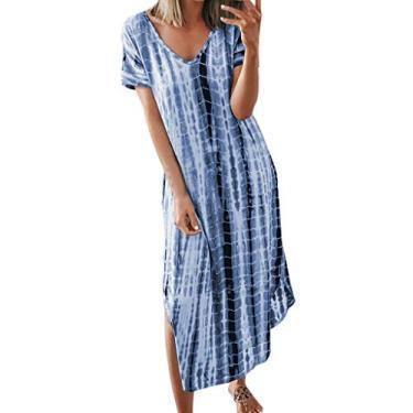 Vestido longo feminino boêmio, manga curta, casual, gola V, tie dye, fenda lateral, vestido longo solto, Azul, S