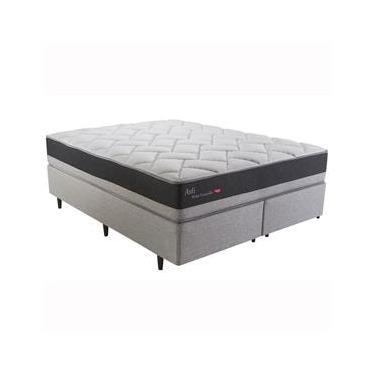Cama Box Queen + Colchão Herval Asti com PillowTop One Side e Molas Ensacadas 69x158x198 cm - Cinza/Grafite