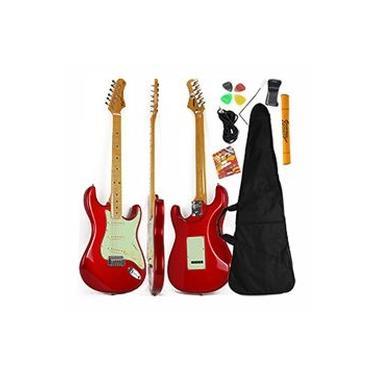Imagem de Guitarra Stratocaster Vermelho Metálico Woodstock Tagima TG 530 MR + Acessórios