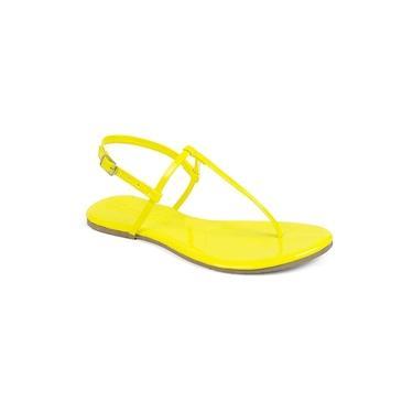 Sandália Flat Feminina Neon Mercedita Shoes Verniz Amarelo