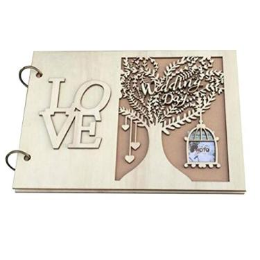 VALICLUD Álbum de fotos personalizado de madeira Love Guest Livro de convidados Árvore de casamento Presente - Livro de Mensagens no Livro (20 páginas) Decoração de festa