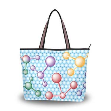 Bolsa feminina com alça superior e tema de ciência molecular bolsa de ombro, Multicolorido., Medium
