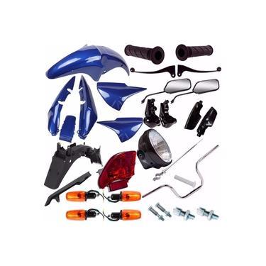 Kit Carenagem + Kit Guidao Pisca Cg 150 Titan 2004 Azul