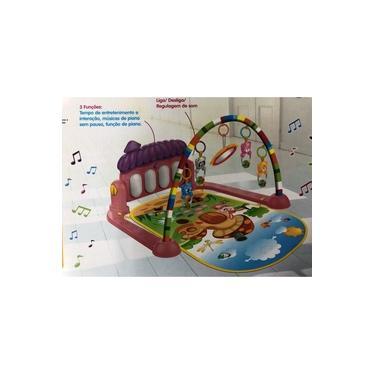 Imagem de Tapete Ginásio de Atividades para Bebê Com Piano Musical Rosa e Roxo com 5 Brinquedos - MK Baby