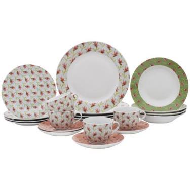 Aparelho de Jantar Chá 20 Peças Casambiente - Porcelana Redondo Flox