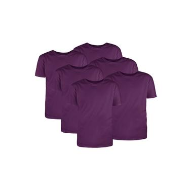 Kit com 6 Camisetas Básicas Algodão Violeta Tamanho GG