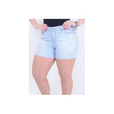 Short em Jeans Destroyed com Barra Desfiada Delavê | Tamanho: 48