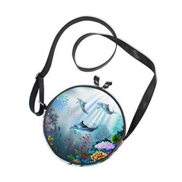 Cooper Girl Bolsa tiracolo redonda com golfinhos marinhos coral bolsa de ombro único para crianças, meninas, mulheres, meninos e adolescentes