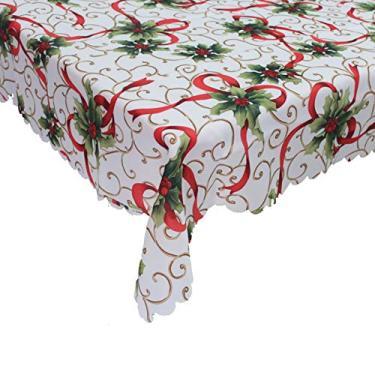 Imagem de giveyoulucky 150 x 180 cm Toalha de mesa de Natal com estampa temática de Natal retangular requintada capa de mesa de poliéster decoração de festa B