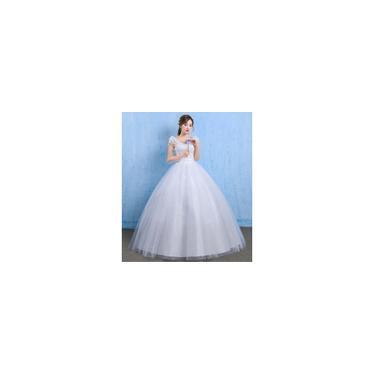 Imagem de Vestido longo branco de noiva conforto Textura de bordado Alças ajustáveis F01