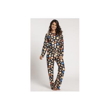 Pijama Recco Feminino Comprido de cetim flanela 12796