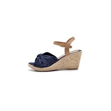 cb0ecff00d Sandália Anabela S B Shoes Em Tecido Jeans Marinho