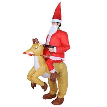 Imagem de Weiyirot Fantasia inflável para cosplay, fantasia de Natal, Papai Noel, desenho inflável, fantasia inflável com soprador para decoração de festas de Halloween (Papai Noel com alce X121)