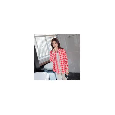 Camisa xadrez casual feminina de outono solta, casaco de manga comprida com peito único