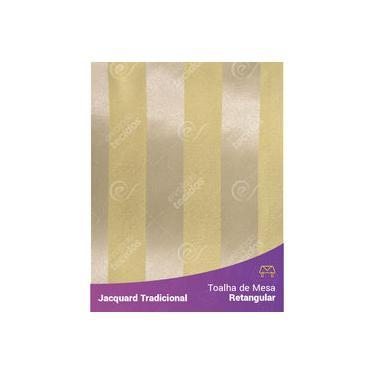 Imagem de Toalha De Mesa Retangular Em Tecido Jacquard Amarelo Listrado Tradicional