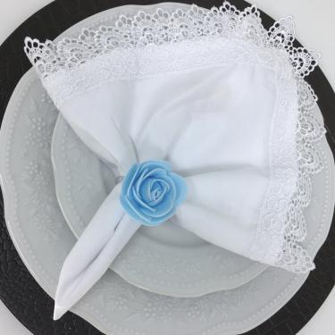 Imagem de Porta Guardanapo Botão de Rosa EVA (Azul Bebê) - 4 unidades