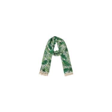 Echarpe Folhagem Verde E Branca Com Franja Algodão 180X90Cm