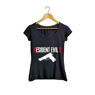 Camiseta Baby Look Resident Evil 2 feminino preto Tamanho:P