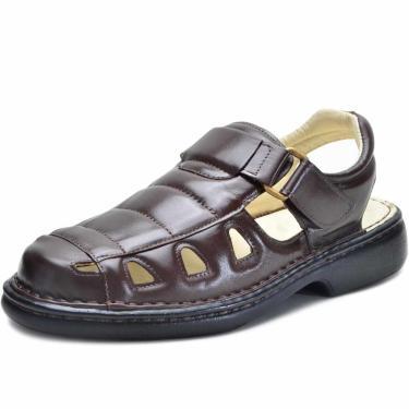 Sandália Ortopédica Em Couro Top Franca Shoes Café  masculino