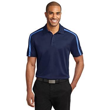 Camisa polo listrada Port Authority Silk Touch Performance Colorblock, Navy/ Carolina Blue, 4XL