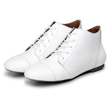 Bota Feminina Casual Confort Cano Curto Ankle Boot Cavalaria Cor:Branco;Tamanho:33