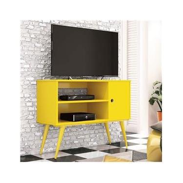 Rack para TV até 32 Polegadas 1 Porta Reale Retrô EDN Móveis Amarelo
