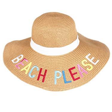 Amosfun Chapéu de palha feminino, chapéu de palha dobrável, aba larga, chapéu de praia, casual, chapéu Panamá (cáqui) chapéu de verão UV para mulheres e homens