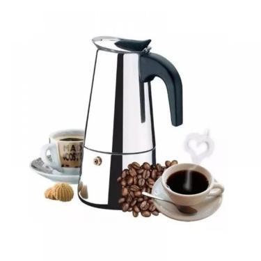 Imagem de CAFETEIRA TIPO ITALIANA EXPRESSO 6 XICARAS CAFE BULE 300ML EM INOX MANUAL LUXO KEHOME