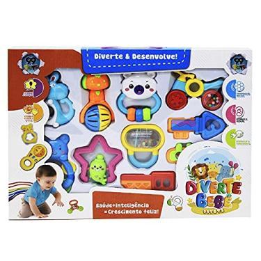 Imagem de Kit com 10 Brinquedos Infantil Pra Bebê Chocalhos Mordedores BRINQUEDOS para bebe recen nascido primeira infancia