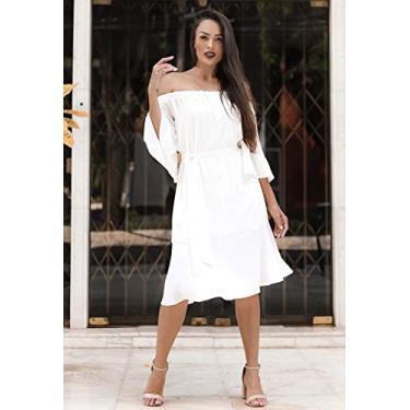 Vestido cigana manga 3/4 elástico off-white Ref. 02654