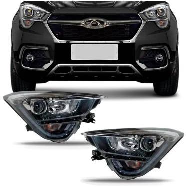 Farol Chery Tiggo 2018 2019 2020 Máscara Negra Foco Duplo com Motor e LED Lado Direito + Lado Esquerdo