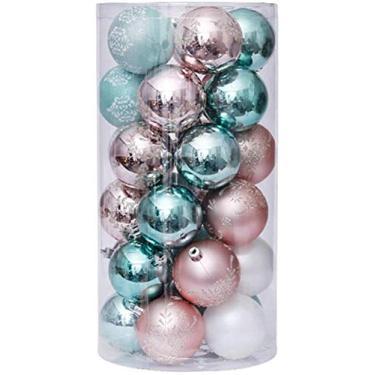 Imagem de PJPPJH Conjunto de 30 peças de bola de Natal pintada de Natal bola de Natal ornamento de árvore de Natal pingente ouro rosa