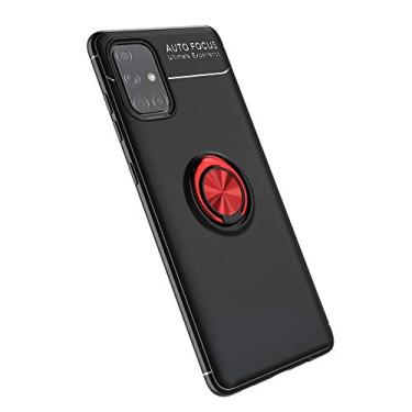 Cellular Capa para Samsung Galaxy A71(5G)/A Quantum Capa Case Anel Suporte Magnético Protetor de Suporte TPU + ABS Silicone Capa Anti-queda Atualização função de suporte Caso Cell Case:Preto Vermelho