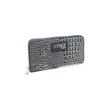 Carteira Croco Pewter Grafite