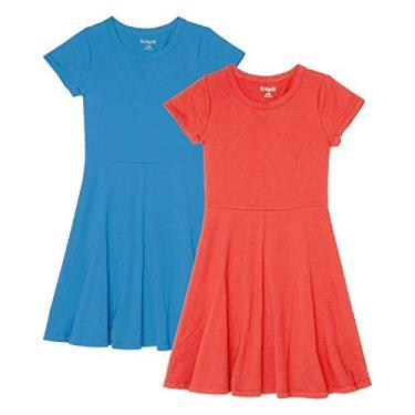 KIDPIK Vestido camiseta com bainha de babados, pacote com 2 - vestidos para meninas, Skater Dress 2pk- Dresden Blue-calypso Coral, 12