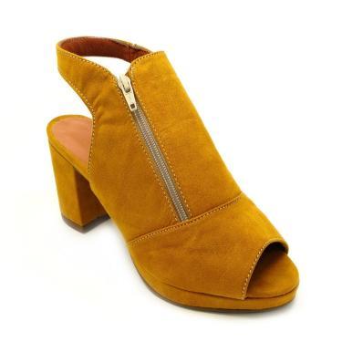 Sandália Estilo Elxs Ankle Boot Camurça Mostarda Salto Grosso  feminino